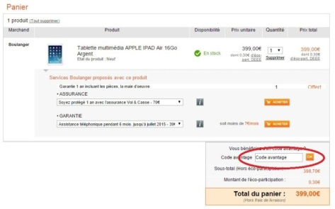 code promo boulanger apple