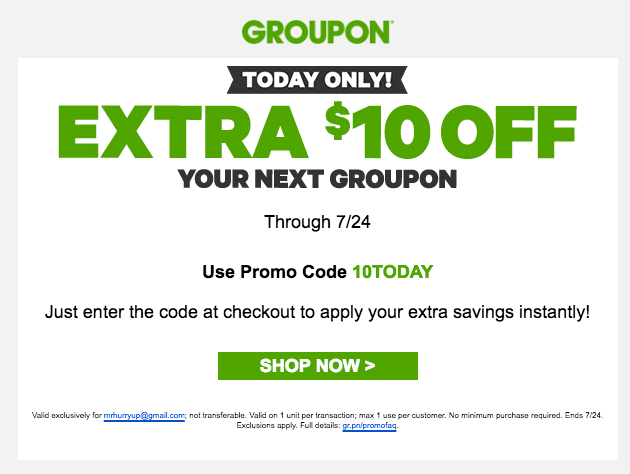 promo code groupon today