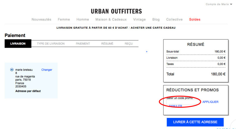 code promo urban outfitters